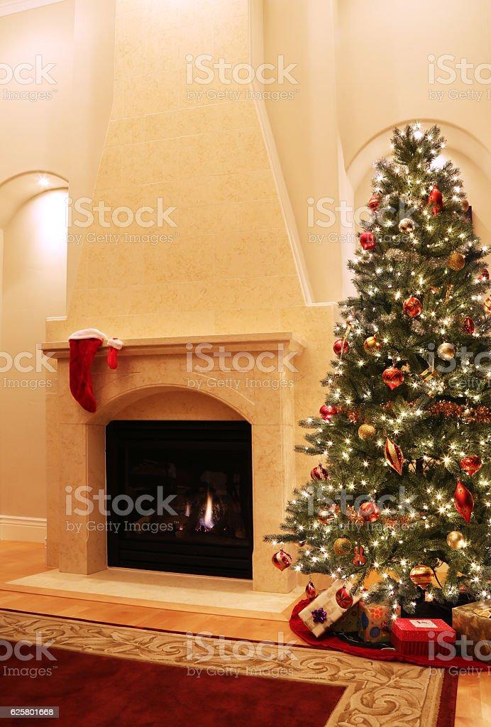 Christmas Tree and Fireplace stock photo