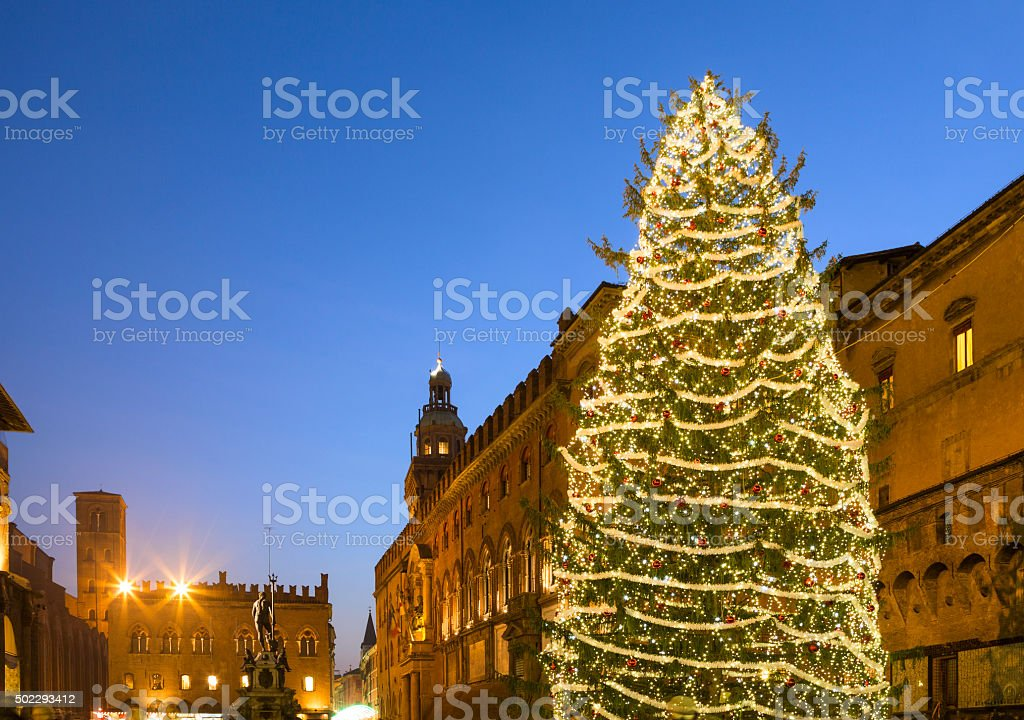 Christmas tree and Fountain of Neptune, Bologna Italy stock photo