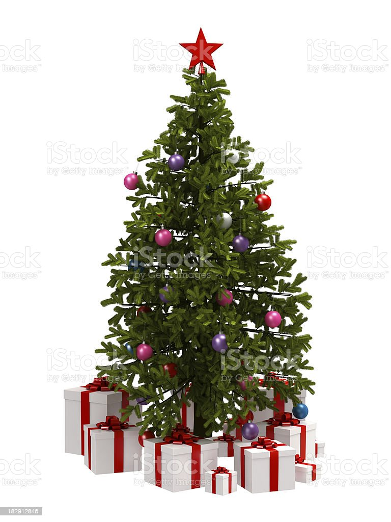 Christmas Tree and Gifts royalty-free stock photo