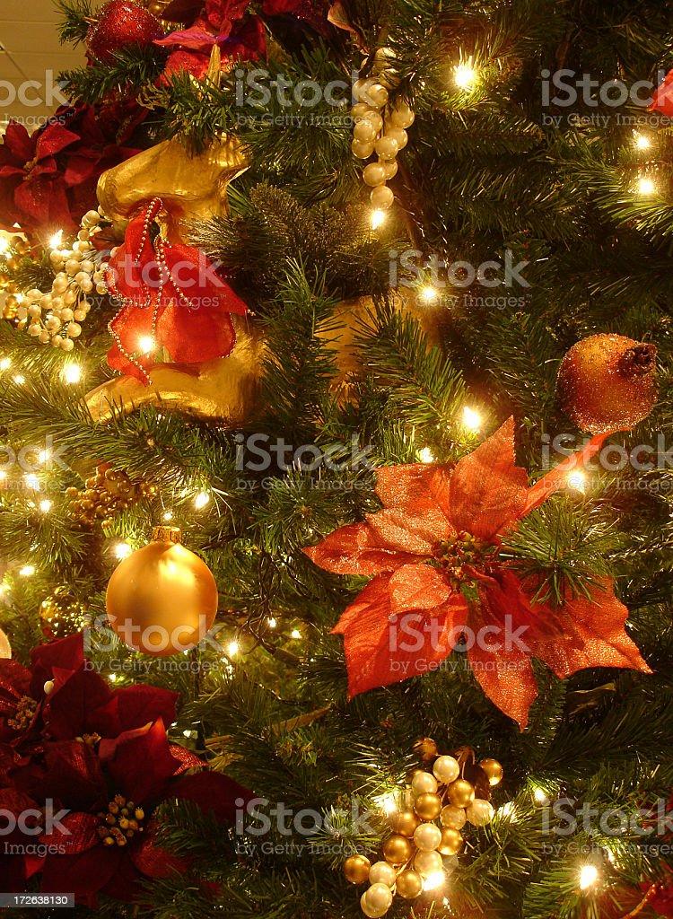 Christmas tree and holiday ornaments stock photo