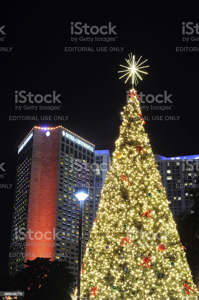 Christmas Tree and Hotel in Miami stock photo