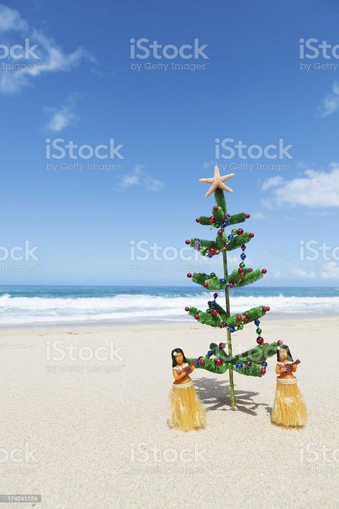 Christmas Tree and Hula Dancers in Tropical Hawaiian Beach Vt royalty-free stock photo