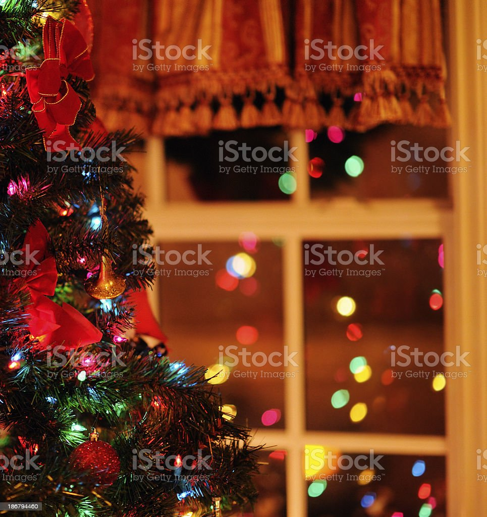 Christmas Tree and Its Reflection From Indoors royalty-free stock photo