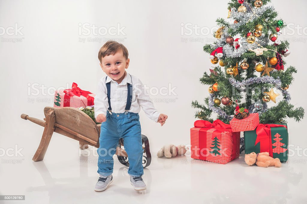 Christmas tree and little man stock photo