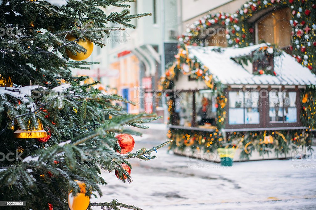 Christmas tree and market, Moscow stock photo