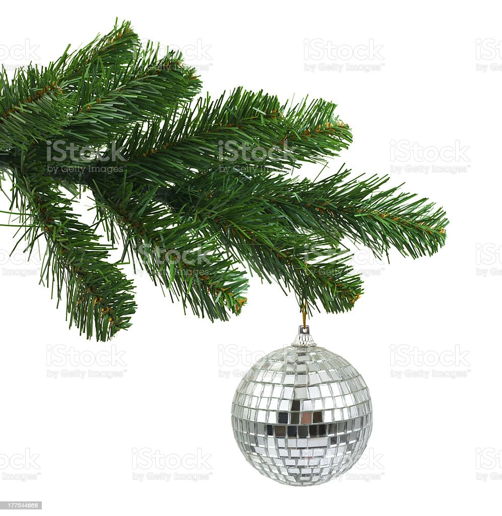 Christmas tree and mirror ball royalty-free stock photo
