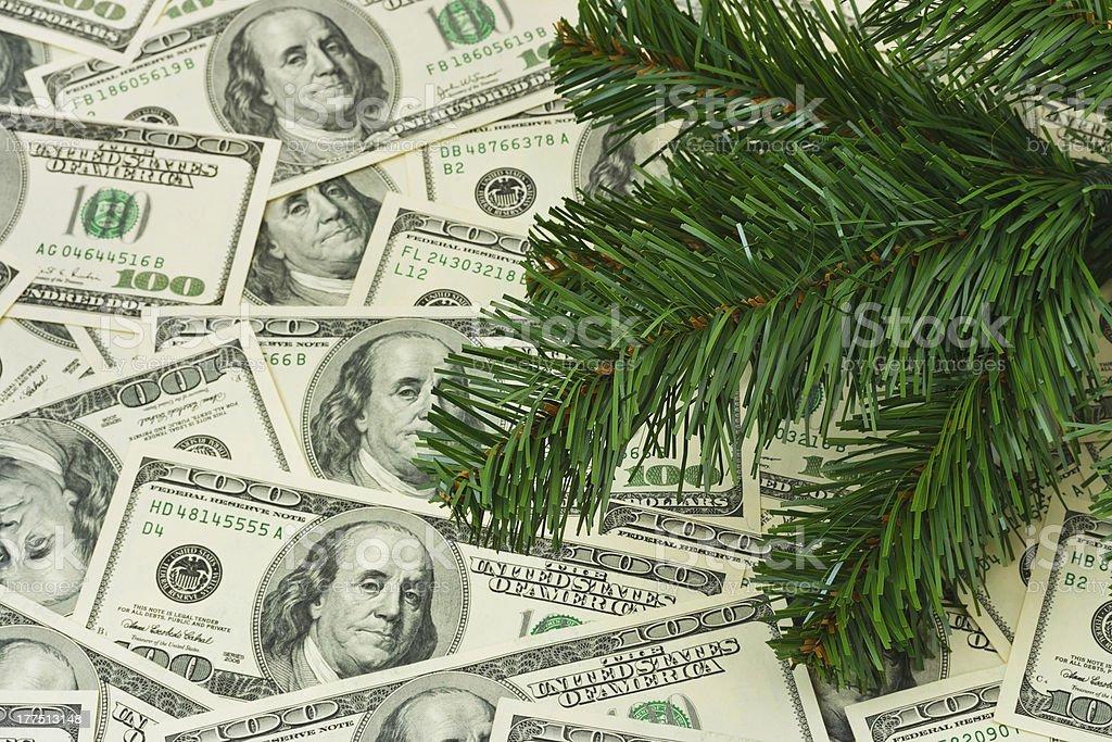 Christmas tree and money royalty-free stock photo