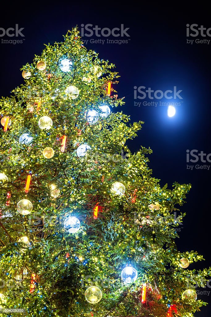 Christmas tree and Moon in Strasbourg - Alsace stock photo