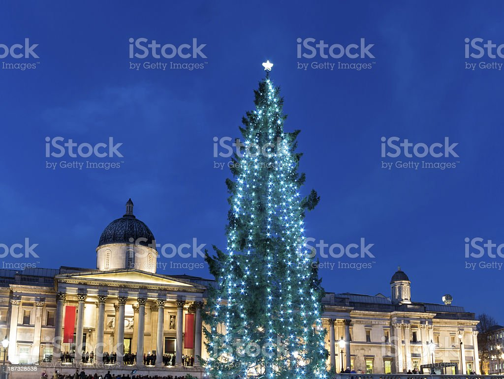 Christmas tree and National Gallery London royalty-free stock photo