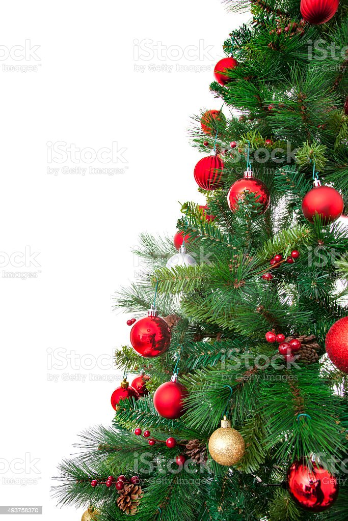 Christmas tree and ornaments stock photo