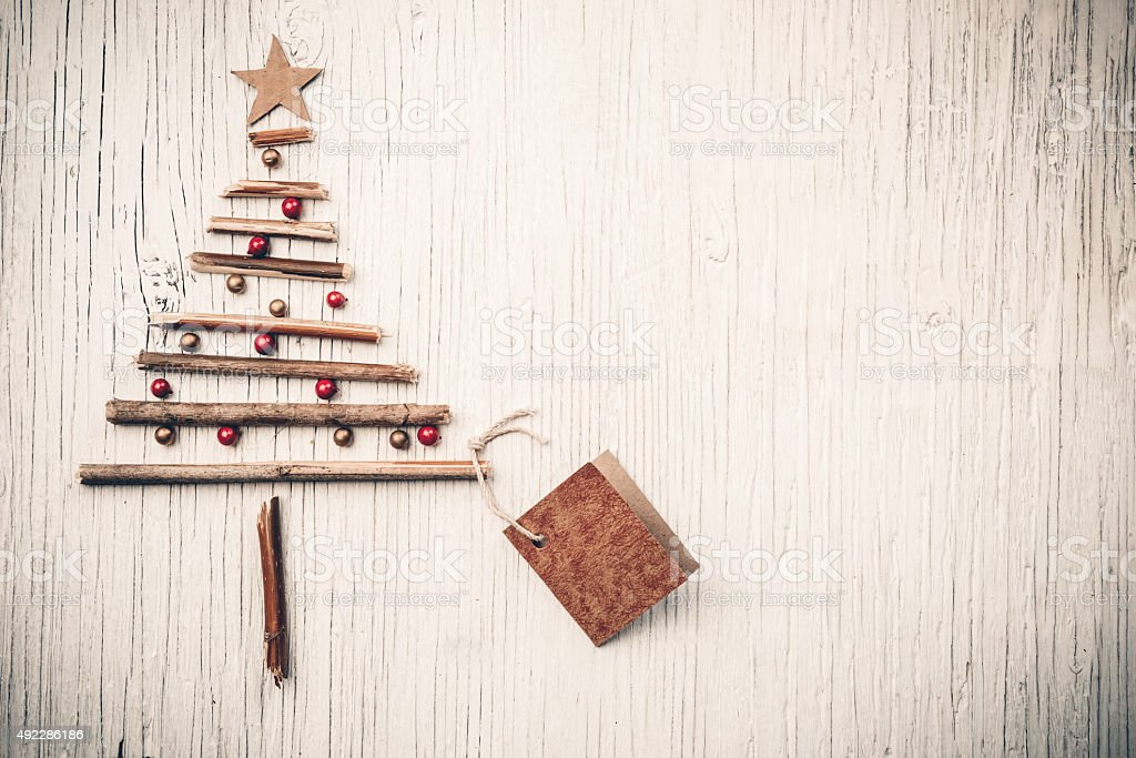 Christmas tree and price tag stock photo