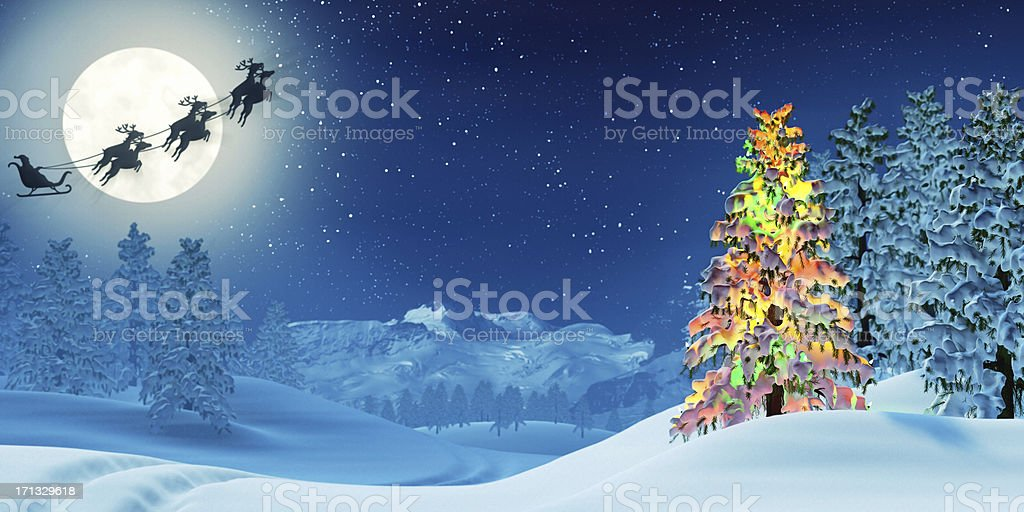 Christmas tree and Santa in moonlit winter landscape at night royalty-free stock photo