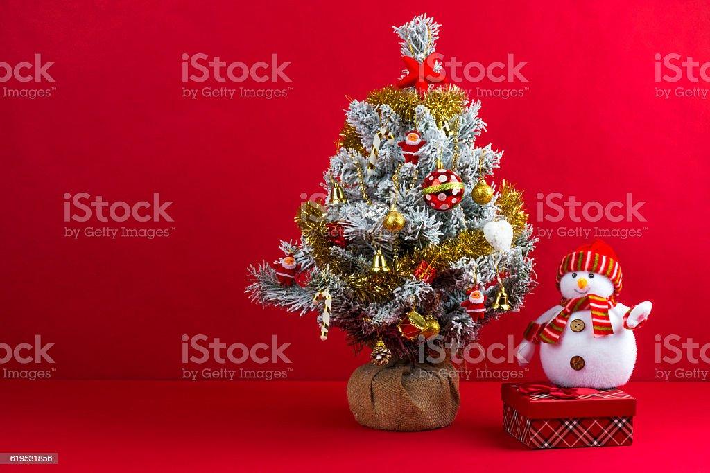 Christmas tree and Snowman stock photo