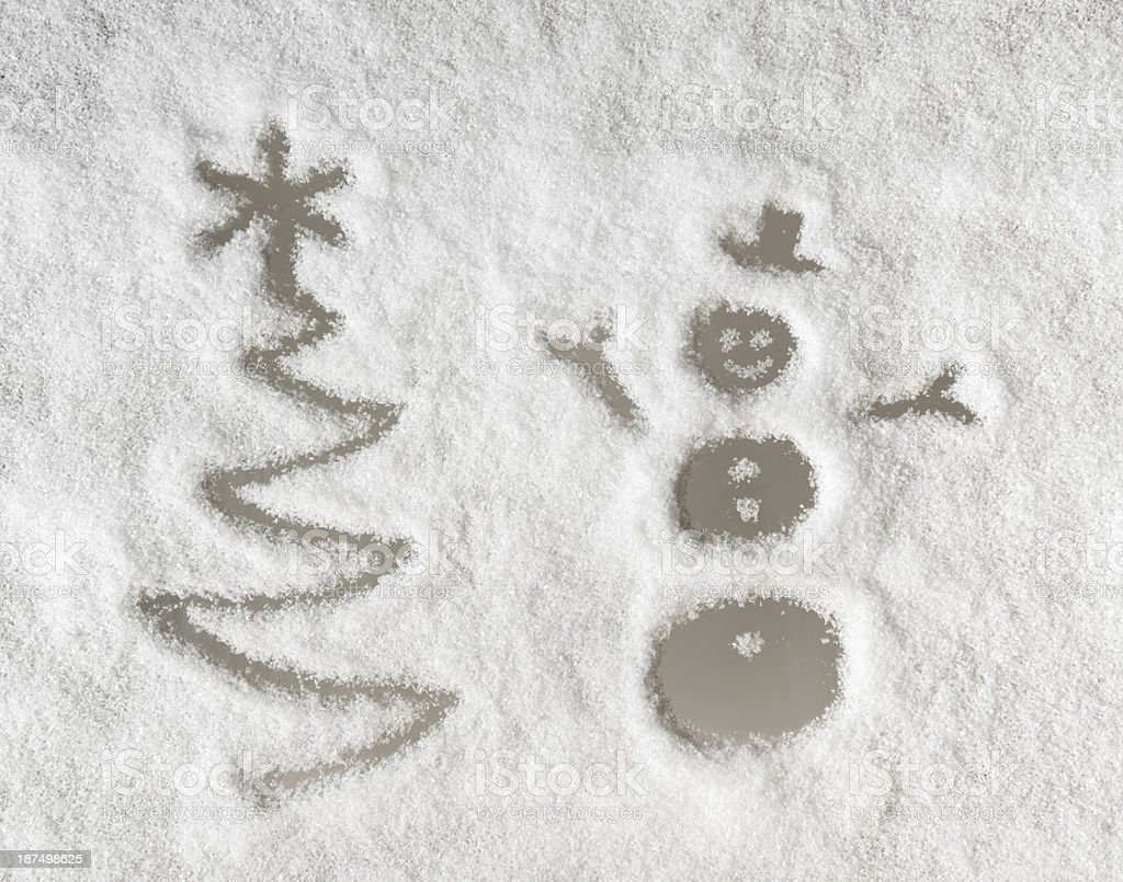 Christmas Tree and Snowman - Winter Windshield royalty-free stock photo