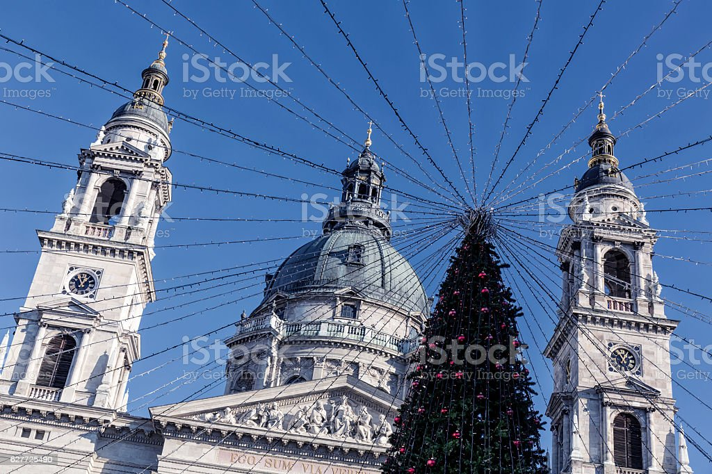Christmas Tree and St Stephen's Basilica in Budapest stock photo