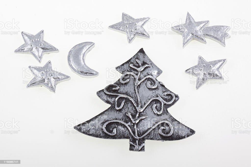 Árvore de Natal e estrelas foto de stock royalty-free