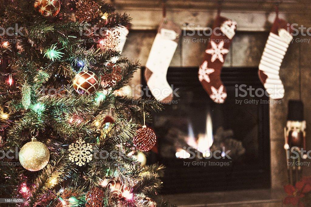Christmas Tree and Stockings stock photo