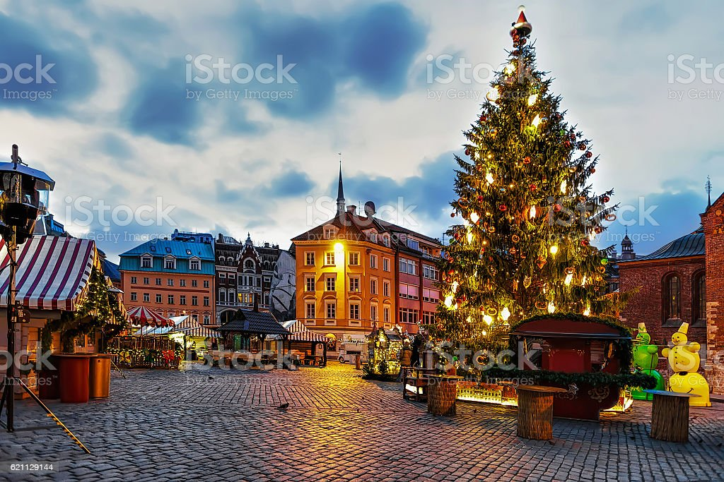 Christmas tree and the Dome square in the evening stock photo