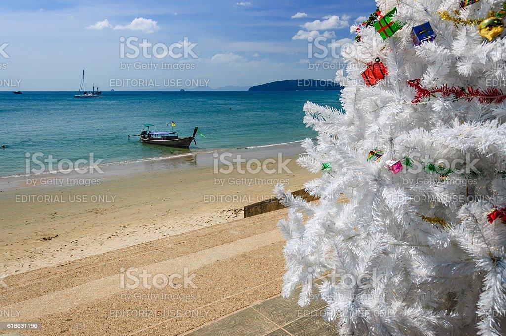 Christmas tree, Ao Nang beach, Thailand stock photo