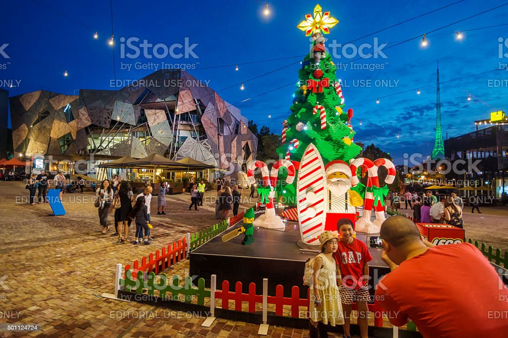 LEGO Christmas Tree at Federation Square, Melbourne stock photo