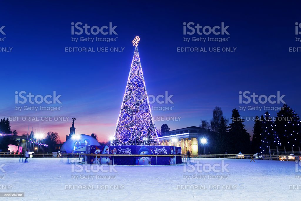 Christmas tree at ice rink in the Kyiv stock photo