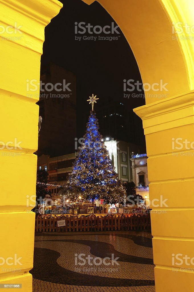 Christmas tree at Largo do Senado, Macau royalty-free stock photo