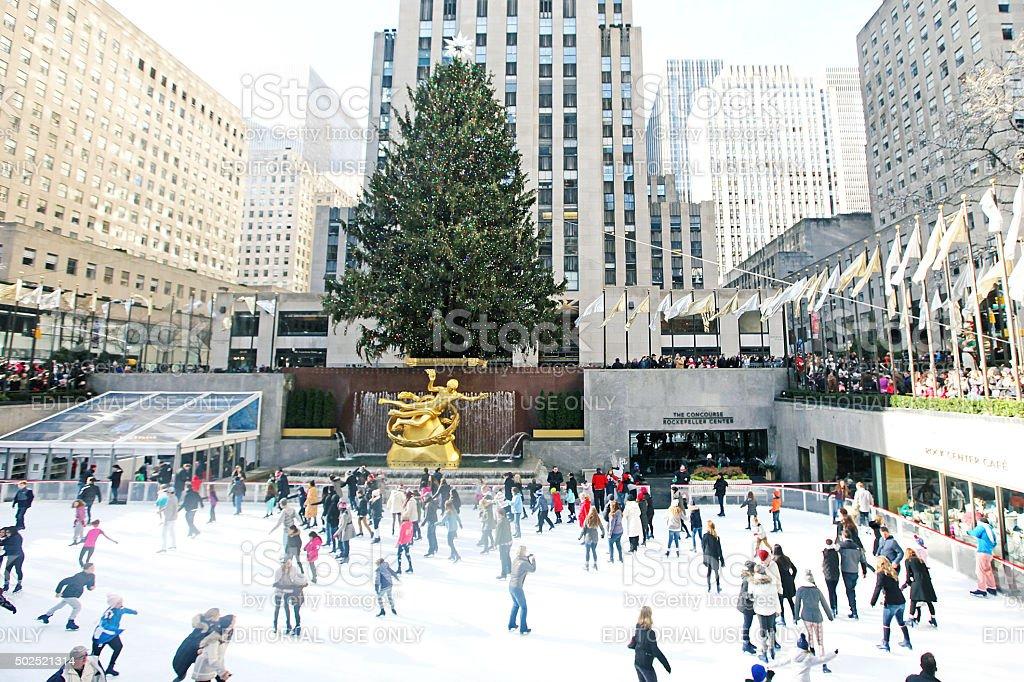 Christmas Tree at Rockefeller Center in New York City stock photo