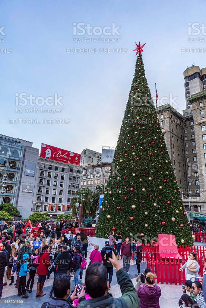 Christmas tree at San Francisco Downtown Union Square, CA stock photo