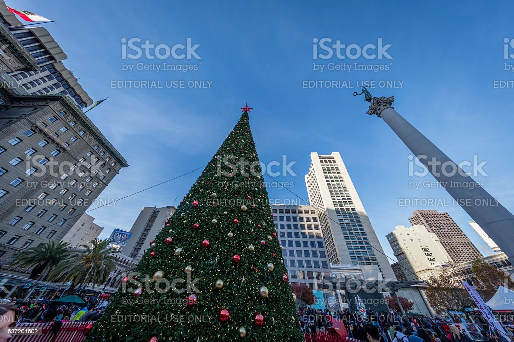 Christmas tree at San Francisco Downtown Union Square, CA stock photo