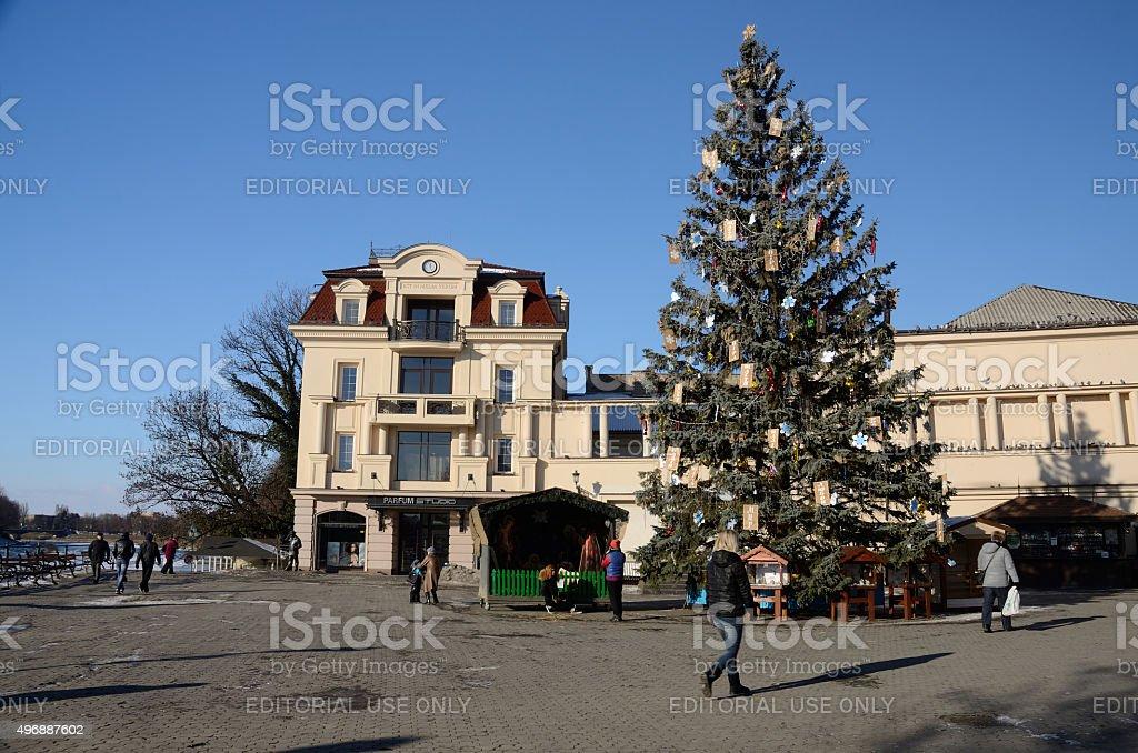 Christmas tree at Teatralna square in Uzhhorod,Western Ukraine stock photo