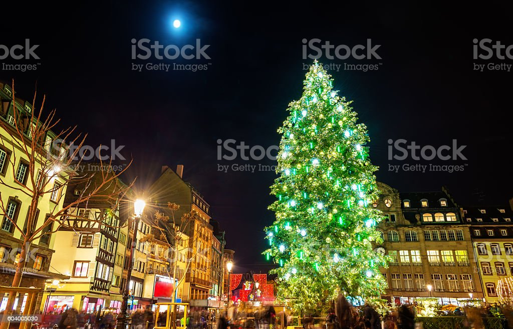 Christmas tree at the famous Market in Strasbourg stock photo