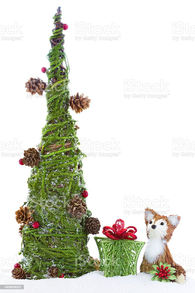 Christmas Tree Baby Fox Gift Ornament Vintage Rustic royalty-free stock photo