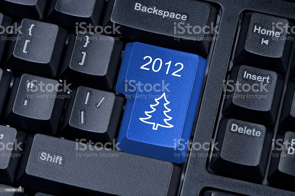 Christmas tree blue button computer keyboard internet concept. royalty-free stock photo
