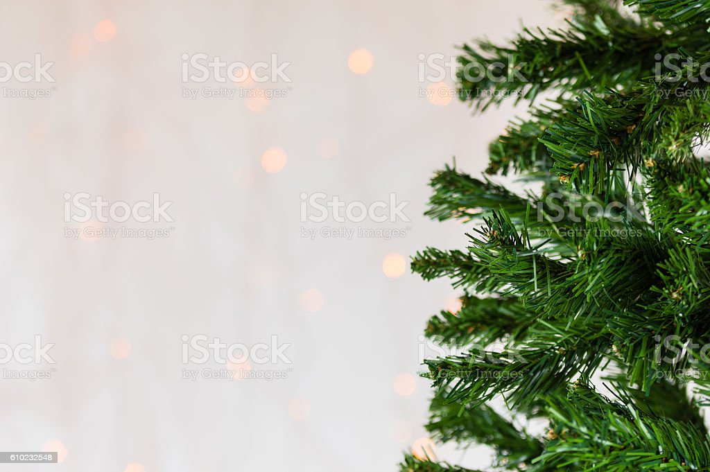 Christmas tree, bokeh background. Copy space. stock photo