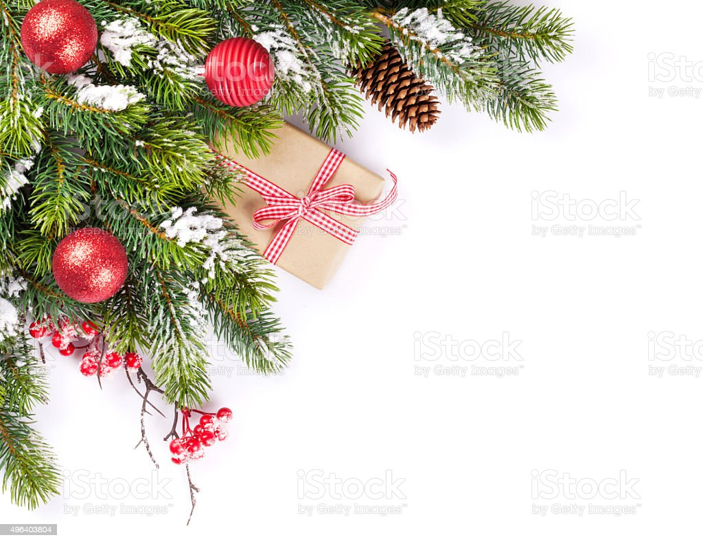 Christmas tree branch and gift stock photo