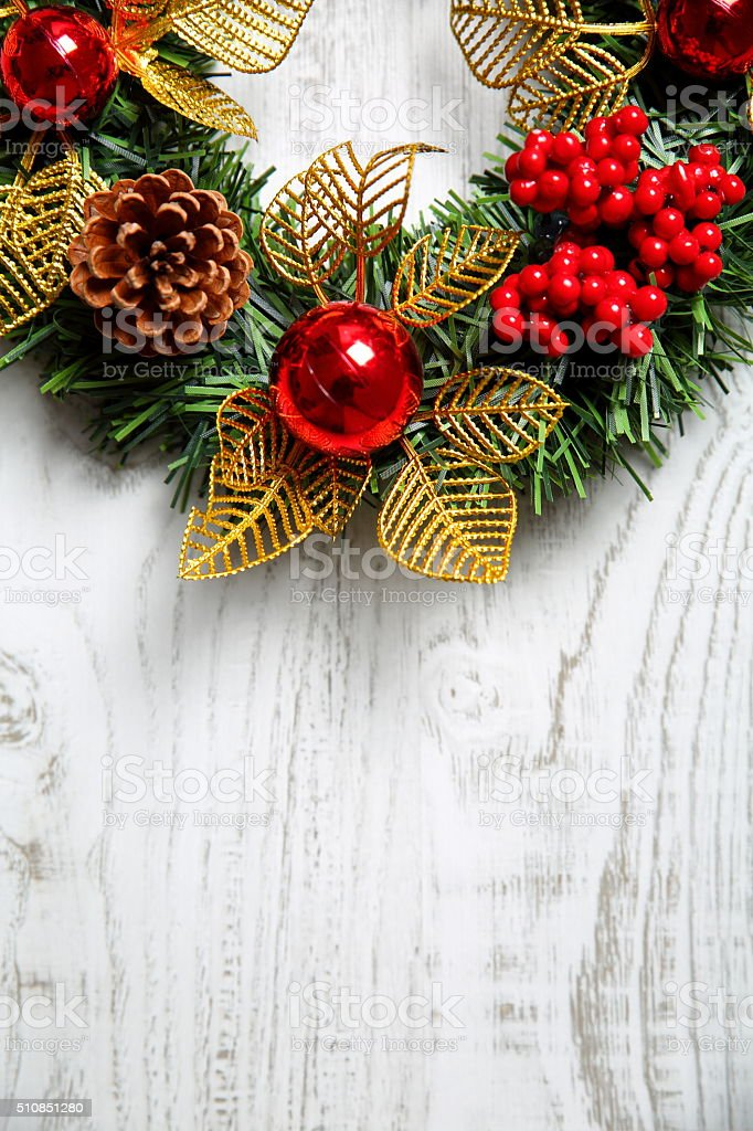 Christmas tree branch on the wooden background stock photo