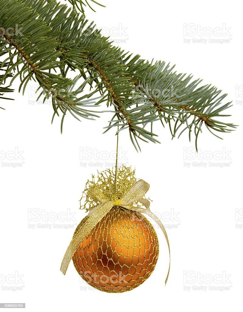 Galho de árvore de Natal com um brinquedo foto royalty-free
