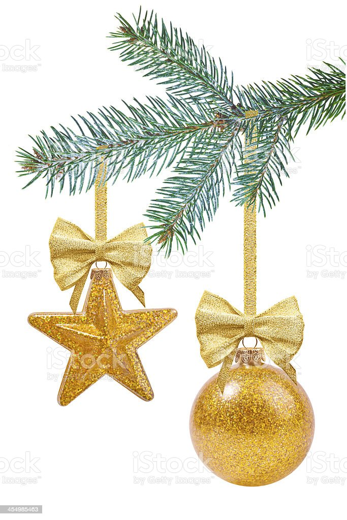 Christmas tree branch with decoration stock photo