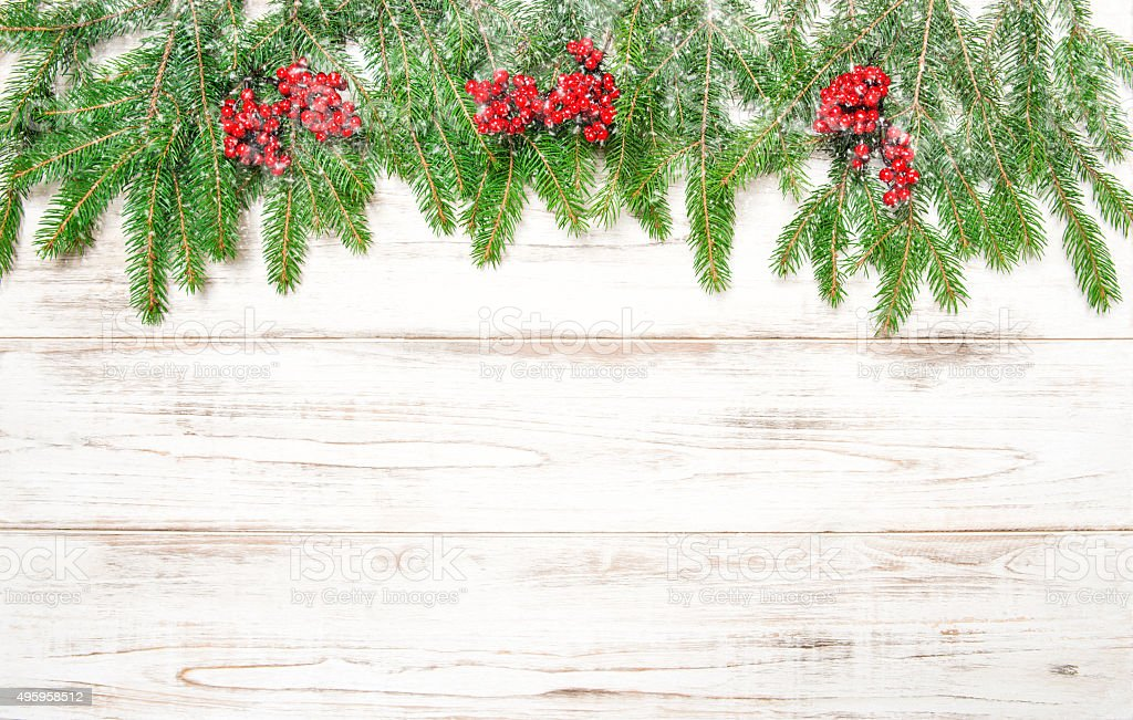 Christmas tree branch with red berries and falling snow stock photo