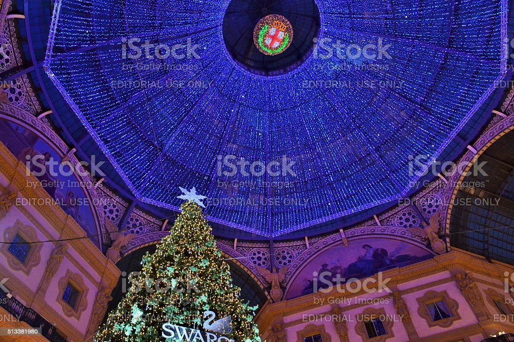 Christmas tree by Swarovski and decorated Gallery roof. stock photo