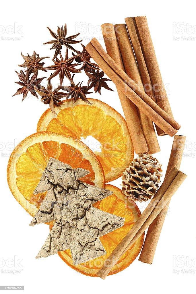 'Christmas tree, cinnamon sticks, star anise and dried orange' stock photo