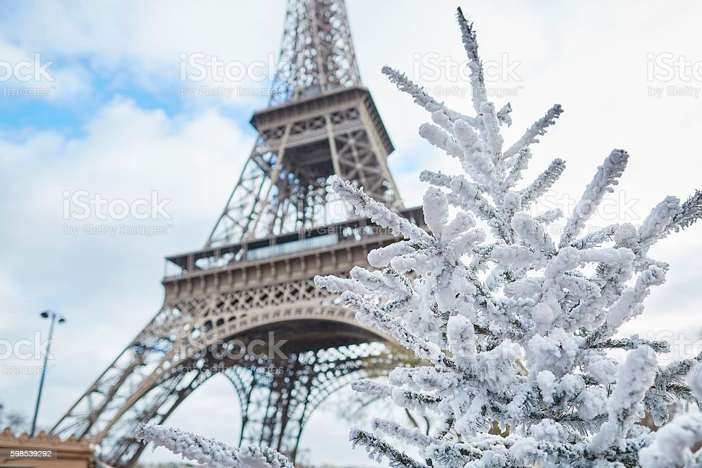 Christmas tree covered with snow near the Eiffel tower stock photo