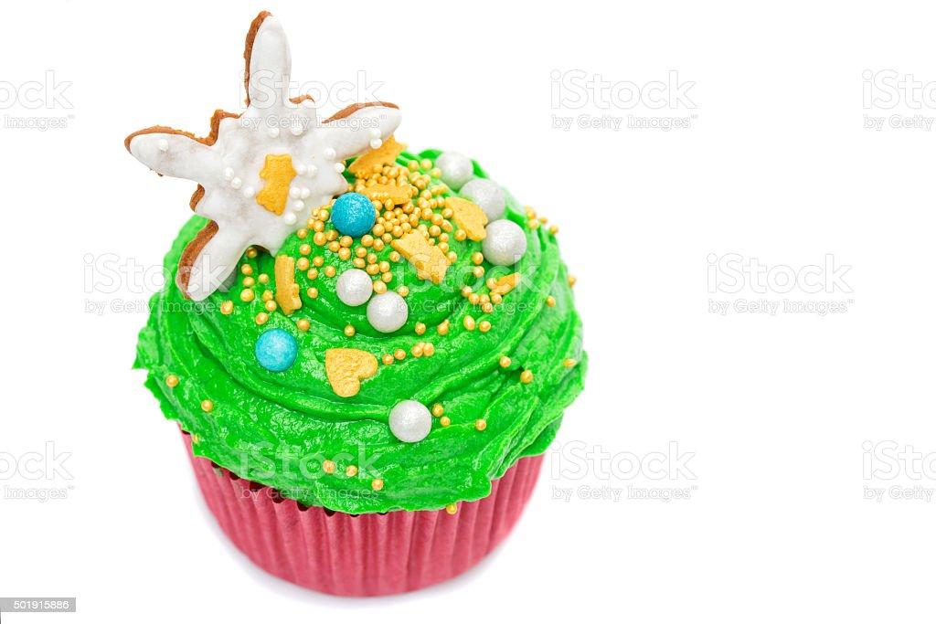 Christmas tree cupcakes stock photo