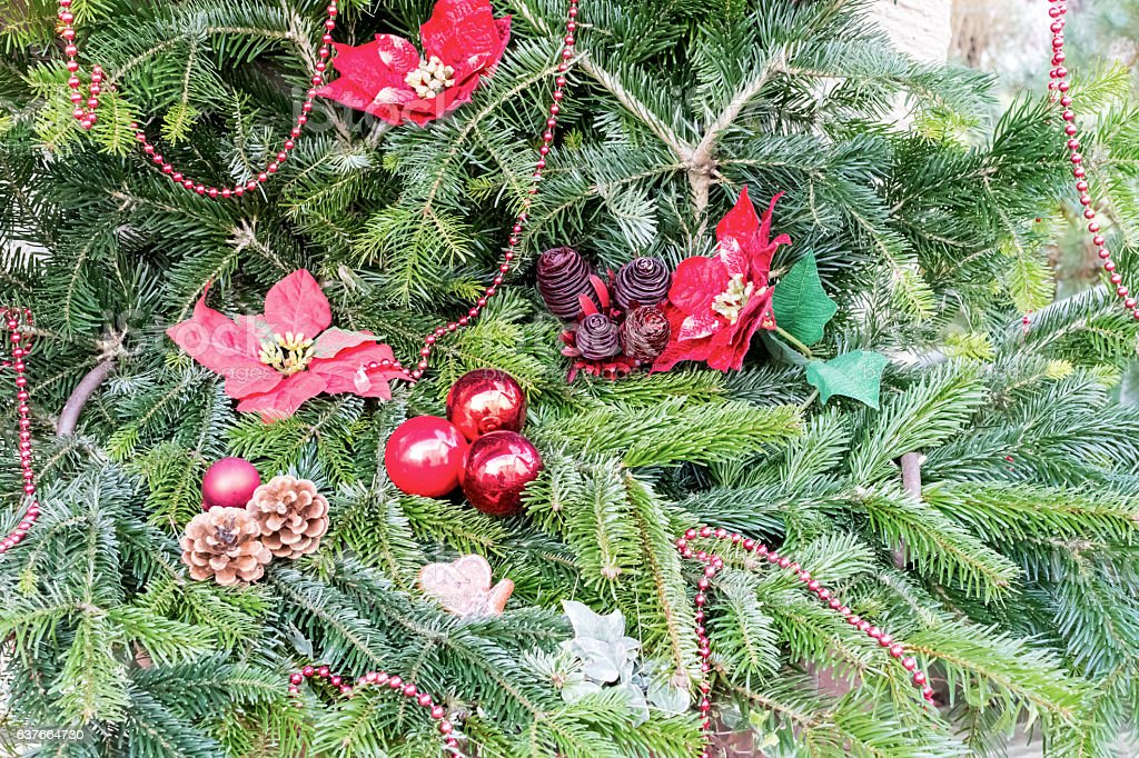 Christmas tree decor on natural background stock photo