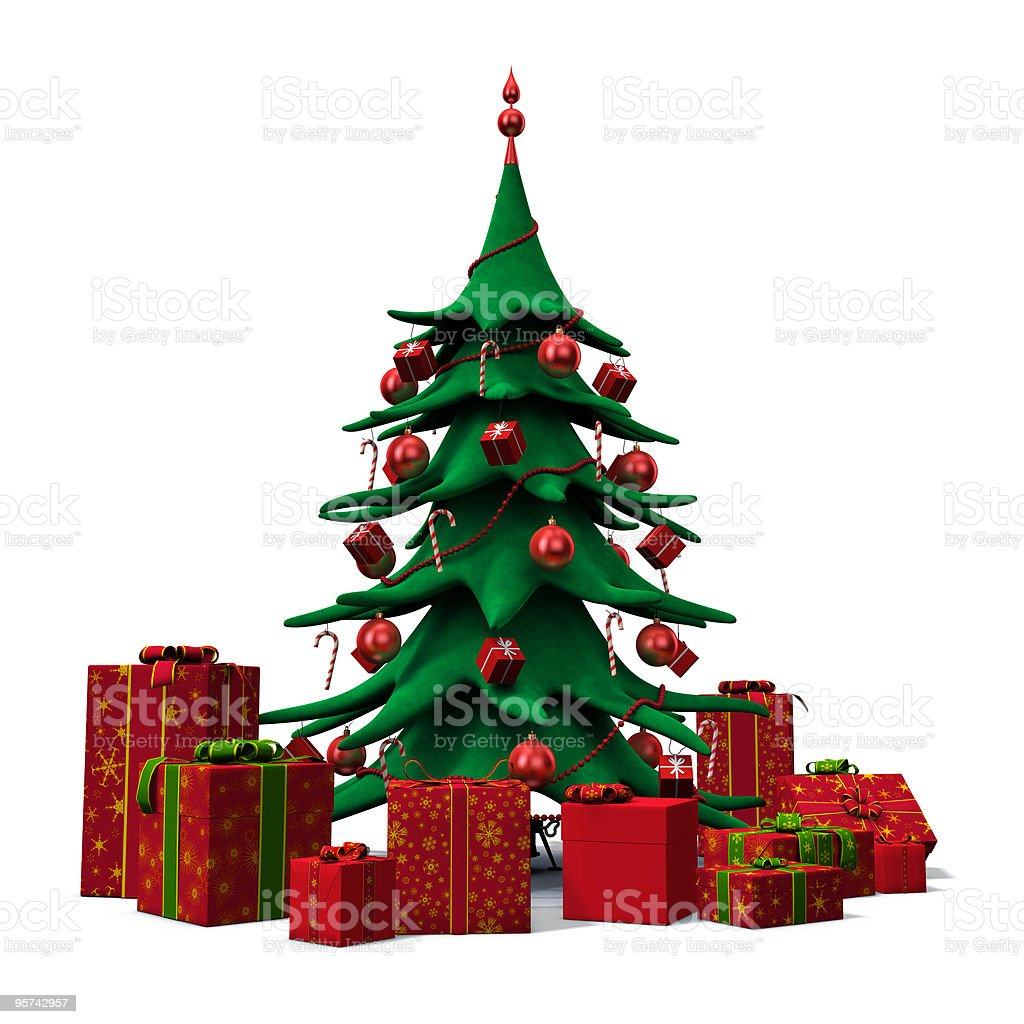 christmas tree decorated red with presents royalty-free stock photo