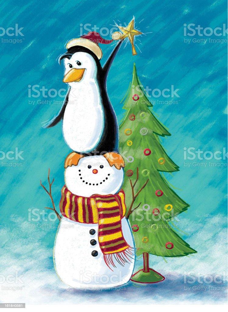 Christmas Tree decorating stock photo
