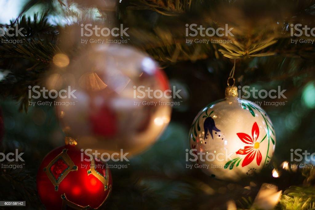 Christmas tree decoration balls. stock photo