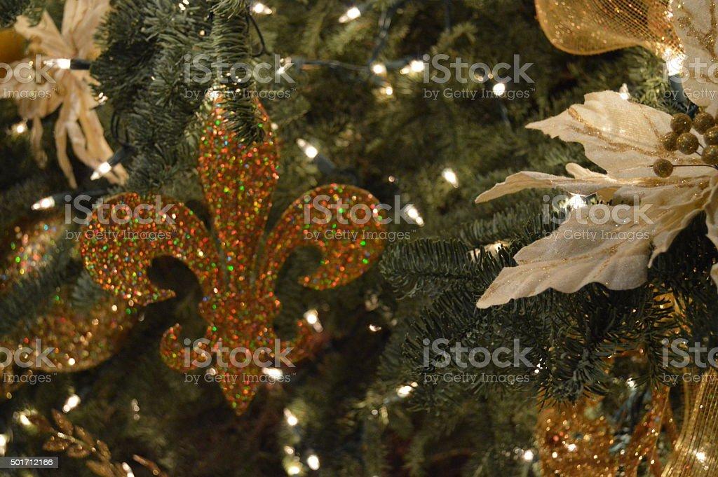 Christmas tree decoration close up stock photo
