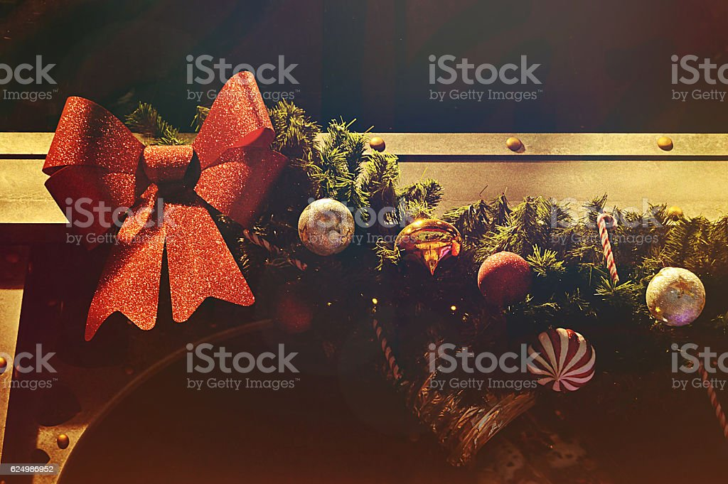 Christmas Tree Decoration - Focus on right side of tree stock photo