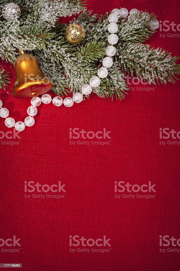 christmas tree decoration on red sackcloth royalty-free stock photo